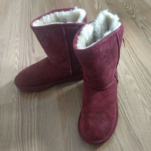 Bear Paw Elizabeth Red Lace Up Sheepskin Boots